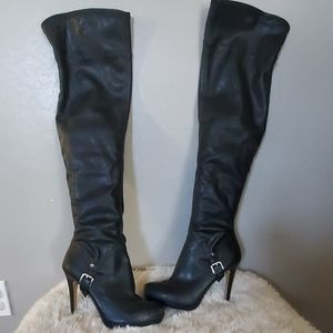 Platform over the knee boots
